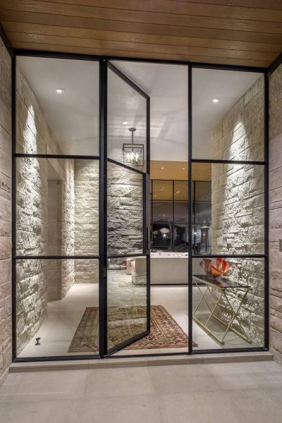 space planning glass partition wall with door