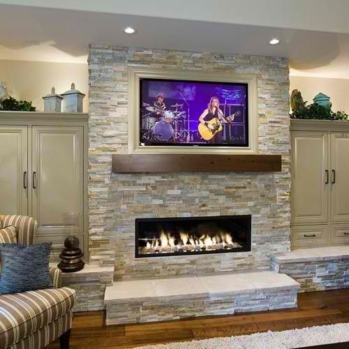 TV and fire place as focal points