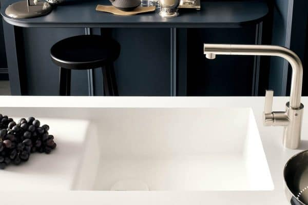 A Corian integrated sink.