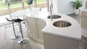 Bespoke Island with acrylic worktop and two under-mounted stainless steel sinks