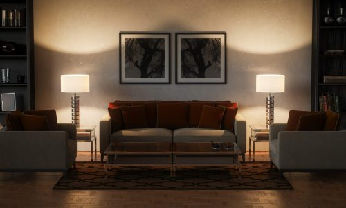 Digitally generated stylish and luxurious living room interior design.  The scene was rendered with photorealistic shaders and lighting in Autodesk® 3ds Max 2016 with V-Ray 3.6 with some post-production added.